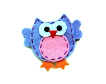 Purple and Pink OWL Felt hair clip, baby hair clip, girl hair clip / barrette ...
