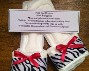 Zebra print quot maxi pad quot bedroom slippers with pink bow