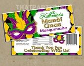 Mardi Gras Masquerade Party Candy Bar Wrappers - DIY U Print