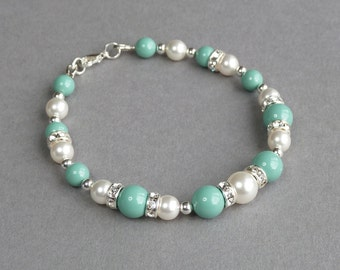 Aqua Bridesmaid Bracelet - Mint Pearl and Crystal Bracelets - Turquoise Bridal Party Gifts - Robins Egg Blue Wedding Jewellery