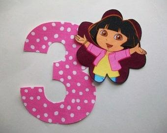 DIY No-Sew - Dora the Explorer Applique and Number - Iron On