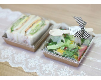 10 Kraft Sandwich Tray Box (With Lid)-swp0238