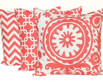 Coral Pillows Decorative Throw Pillow Covers 20 x 20 Inches Set of Three Chevron Suzani Chain Link