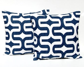 Navy Blue Pillow Covers - Embrace - Navy Blue on White Throw Pillow Covers - Modern Geometric Pillow - Blue Cushion Covers
