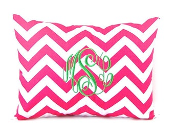 Chevron Pillow Cover - Personalized Pillow Cover - Monogram Pillow - Dorm Decor - Letter Pillow - Personalized Gift - Choice of Thread Color