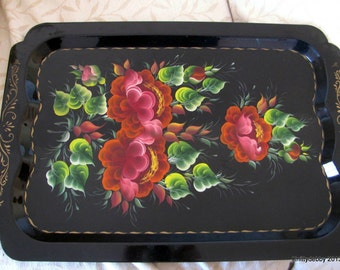Vintage metal tole tray painted with exquisite flowers leaves and gold trim