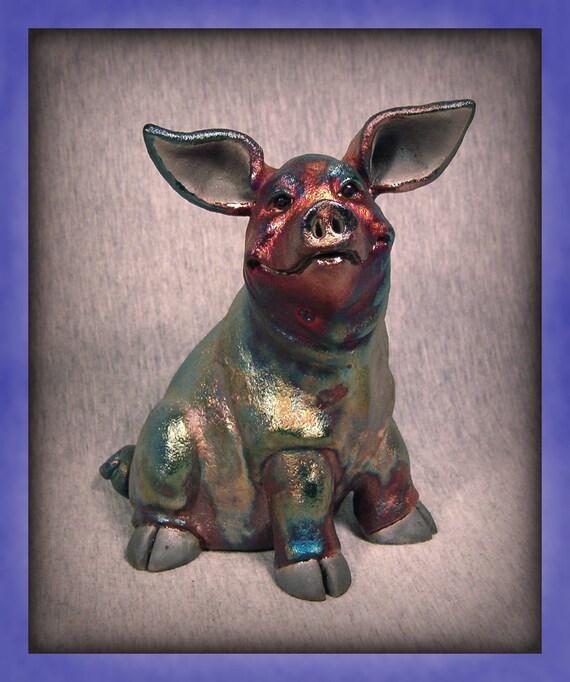 OOAK Raku Pig  Sculpture -SWEET PEA-