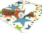 Bib and Burp Cloth Set- in Riley Blake ALl Star Brown Orange Green