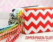 Zipper Pouch, Coin Purse, Card Case, Clutch in Chevron Red, Orange, Yellow, Green, Turquoise, Navy, Brown, Black