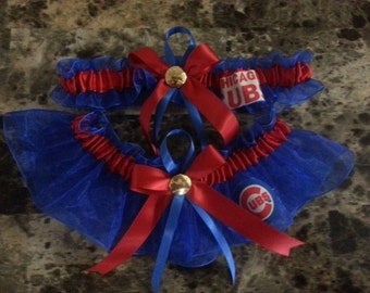 Chicago Cubs royal blue organza Wedding Garter set any size color or style