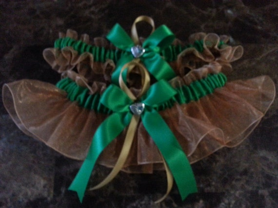 Green and gold organza  wedding garter set any size.