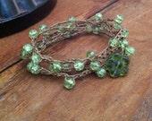 Green on Brown Wraparound Bracelet