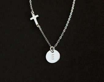 Initial cross necklace in sterling silver sideways cross jewelry with personalized initial charm disc, birthday mother new baby