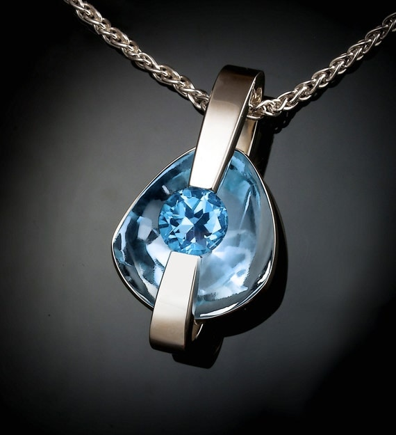 statement necklace, Swiss blue topaz pendant, modern jewelry, bold jewelry, December birthstone, artisan necklace, unique necklace - 3502