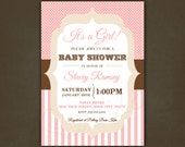 Coral & Cream Bridal Shower Invitation Printable File, for Girl