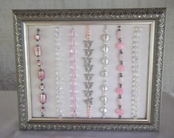 Pink Framed Beaded Wall Art
