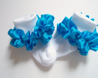 Turquoise Ruffled Ribbon Socks