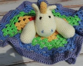 Crochet unicorn lovey - custom colors available