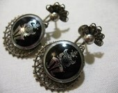 Vintage Earrings with Siam Figure, Silver Filigree
