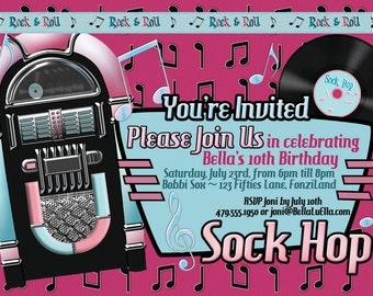 Sock Hop Fifties Party Invitation, Fifties Theme, Jukebox Invites, Sock Hop Party, 50s Party