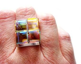 Modern Art Deco Geometric Cube Crystal Ring