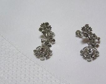 Vintage rhinestone dangling flowers screw back earrings