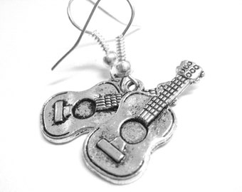 Silver Guitar Earrings - Guitar Jewelry - Clip On Music Earrings - Rock and Roll Jewelry - 095