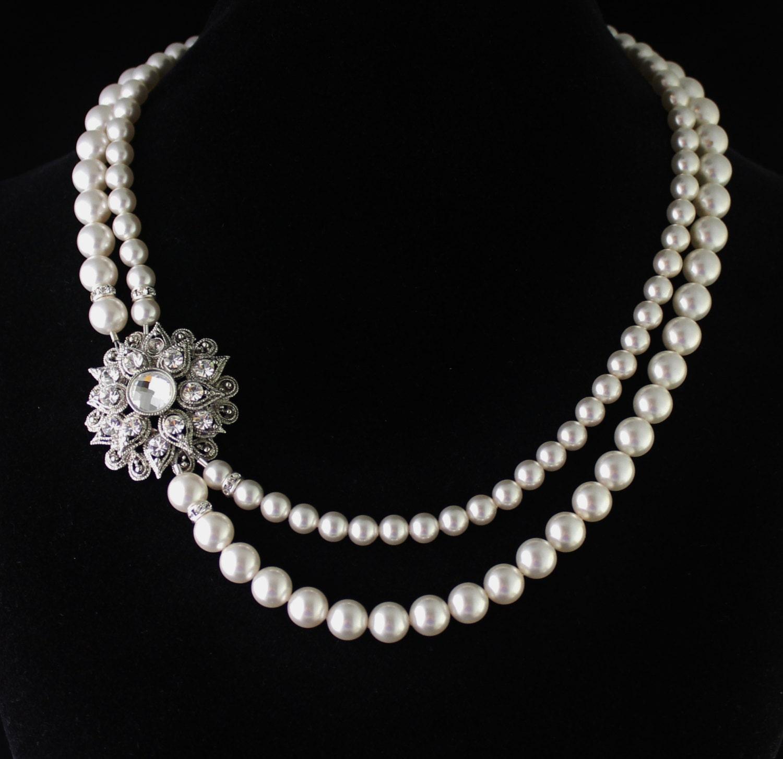 pearl bridal necklace deco pearl necklace multistrand pearl