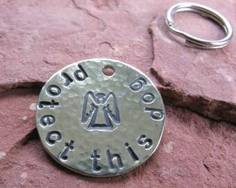 Custom Guardian Angel Pet Tag in Brass
