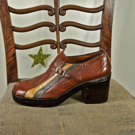 70 s platform shoes s brown and racing stripes