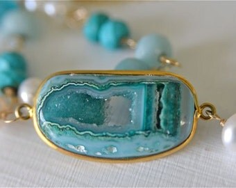 Teal Druzy Gold Necklace with Amazonite Turquoise & Pearls 14kt and 18kt Gold Filled Metals