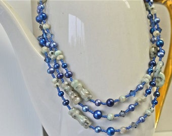 Long Blue Pearl Necklace with Mint Green Sesame Jasper and Matching Pearl and Jasper Earrings made in Maine