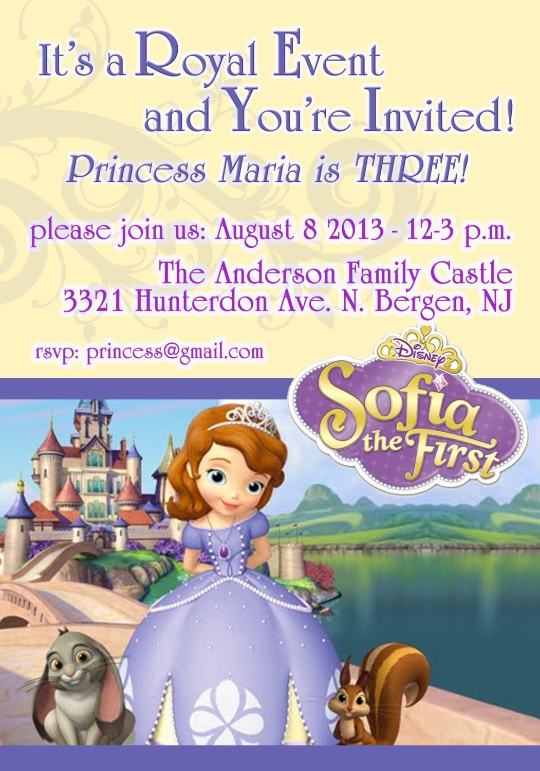 Sofia The First Party Invitations was beautiful invitation layout