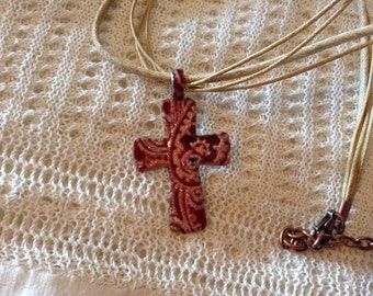 Red Paisley Cross Necklace