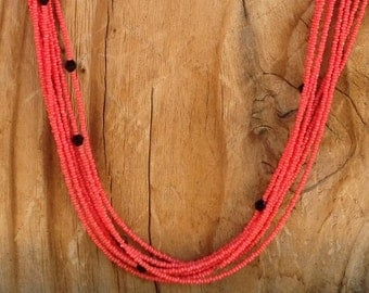 Multi Strand Coral Seed Bead and Black Bicone Necklace