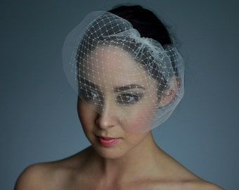 Double Layer Tulle and French / Russian Net Mini Birdcage Veil in Ivory White or Black - READY TO SHIP in 1 week