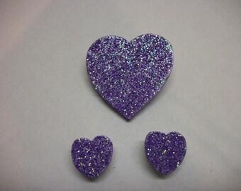 Heart Pin and Earring Set - Purple