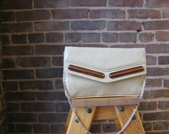 Vintage Camel Color Shoulder Bag with Tortoise Shell Trim