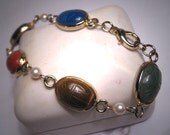 Vintage Scarab Bracelet Jade Onyx Chalcedony Egyptian Revival
