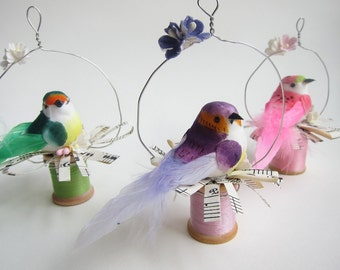 Trio of Bird Ornaments - Vintage Spools - Whimsical Shabby Chic Woodland