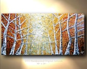 Canvas Art Painting Aspen Tree Colorado Birch Abstract Texture wall decor Artwork Fine art by OTO