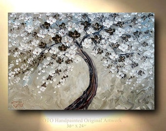 ORIGINAL White Cream Grey Brown Abstract Art painting tree flower Large 36x24 Modern Contemporary abstract art gift Painting by OTO