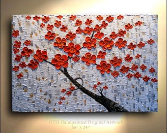 ORIGINAL Red Orange Flower Tree Painting 36x24 Abstract Landscape Artwork Flowerscape Textured Modern Contemporary art by OTO