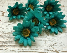 Silk Flowers - Six AQUA GREEN Artificial Daisies - 3 Inches - Artificial Flowers