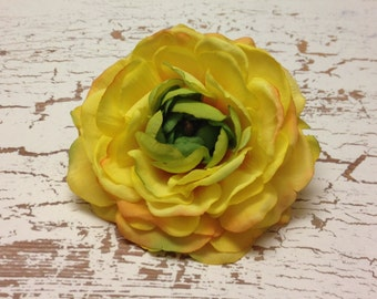 Artificial Flower -  One Silk Ranunculus in Yellow Orange - 3.75 Inches - Silk Flower