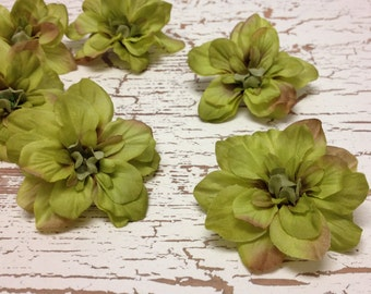 Silk Flowers - SIX Delphinium Blossoms in LIME GREEN - 2.5 Inches - Artificial Flowers