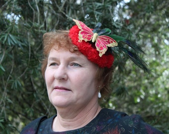 red fascinator butterfly