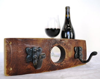 "PERCHA - ""Mini Niknak"" Wine Barrel Coat / Key / Towel Rack made from Napa Valley Barrels and 100% recycled metal"