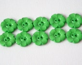 Lot of 10 Flower Buttons - 1 Inch-  Green