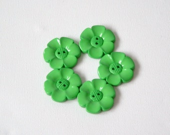 SALE Lot of 5 Flower Buttons - 40mm-  Green